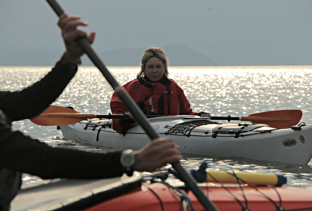 Sea kayaker being trained on the the BCU 1 star syllabus.