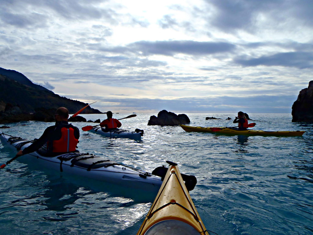 Sea kayakers training for BCU2 Star